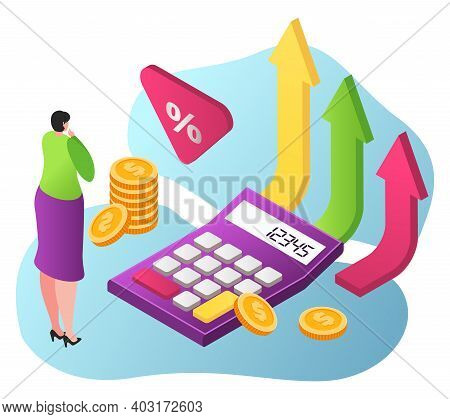 Woman Character Standing Near Calculator, Business Growth Stock Share, Calculation Money Fund 3d Iso