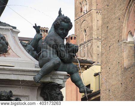 Closeup Of Putto Adorning The Fountain Of Neptune In Piazza Del Nettuno Next To Piazza Maggiore, Bol