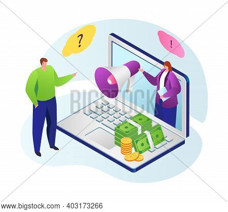 Online Training Financial Literacy, Woman Talk With Loudspeaker In Laptop, Monetary Problem 3d Isome