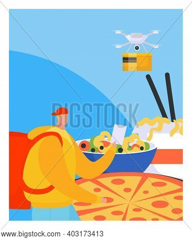 Modern Technology Delivery Drone Fast Food Pizza Poster, Foodstuff Shipment Express Flat Vector Illu