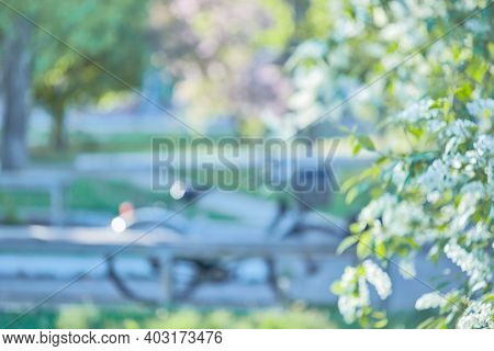 Blurred Image Bike In The Park. Blurred Outdoor Parking For Bicycles In An Official Location And Hot