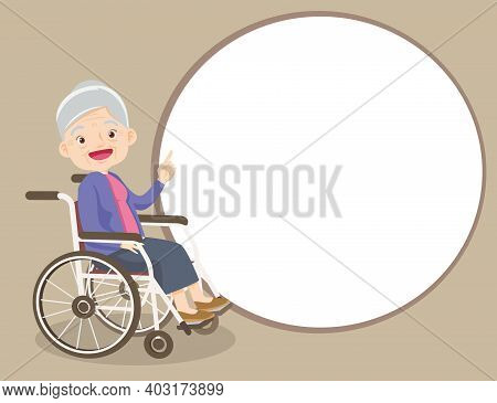 Elderly Woman Pointing Finger Up On Wheelchair, Isolated On White Background,old Lady Finger Pointin