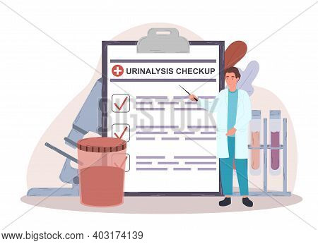 Male Doctor In Uniform Making Urinalysis Checkup. Man In White Robe Standing Next To Clipboard With