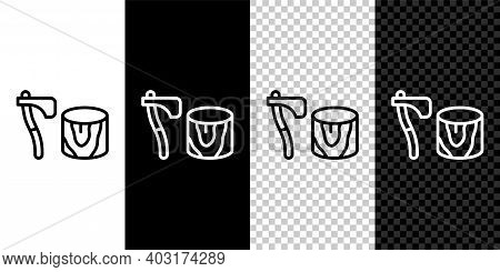 Set Line Wooden Axe In Stump Icon Isolated On Black And White, Transparent Background. Lumberjack Ax