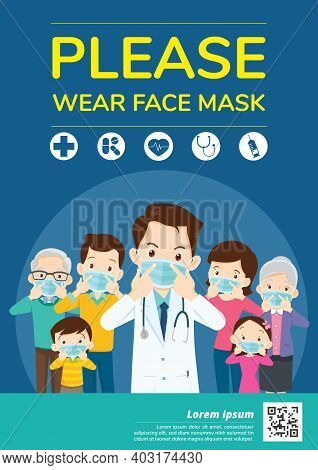 Doctors And Family Members Dad, Mom, Girl, Boy Campaign Please Wear A Face Mask For Media, Poster, C