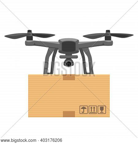 Fly Drone Carries A Package. Flat Vector Cartoon Illustration For Fast Online Delivery