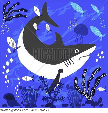 Shark On The Sea Floor Vector Stock Illustration. Fish And Wild Marine Animals In Ocean. Sea  Dwelle
