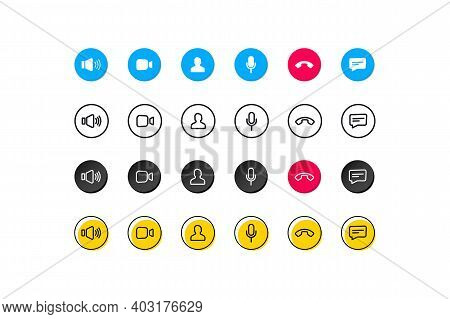 Set Of Video Call Icons. Video Conference. Collections Buttons Of On-line Video Chat App, Internet T