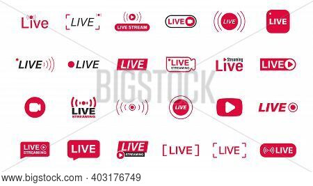 Large Set Of Red Live Streaming Icons. Live Stream, Broadcast. Live Video Streaming. Social Media Li