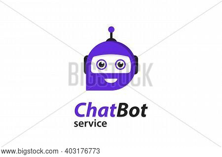 Flat Chat Bot For Marketing Design. Chat Messenger Icon. Support Or Service Icon. Chat Bot In Flat S