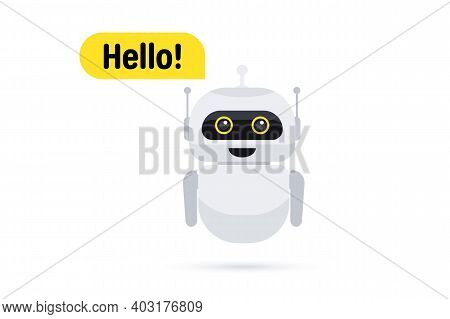 Chat Bot In Smartphone. Chat Messenger Icon. Support Or Service Icon. Support Service Bot Say Users
