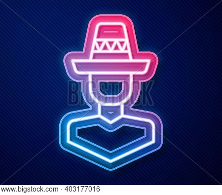 Glowing Neon Line Mexican Man Wearing Sombrero Icon Isolated On Blue Background. Hispanic Man With A