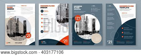 Flyer Design Set. Modern Flyer Background With Orange And Grey Accents. Template Layout For Flyer. C