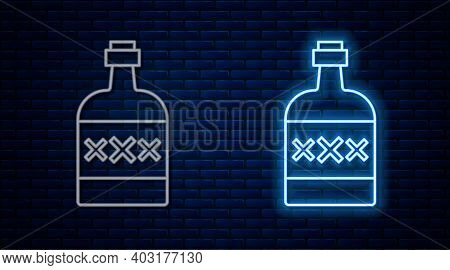 Glowing Neon Line Tequila Bottle Icon Isolated On Brick Wall Background. Mexican Alcohol Drink. Vect