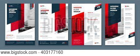 Flyer Design Set. Dark Red Modern Flyer Background Design. Template Layout For Flyer. Concept With D