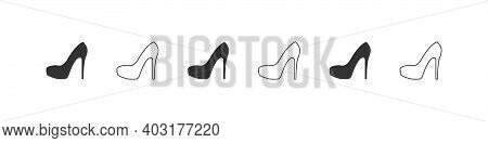 Shoes Icons. Silhouette Of Elegant Womens Louboutins. High Heels Icon Isolated On White Background.
