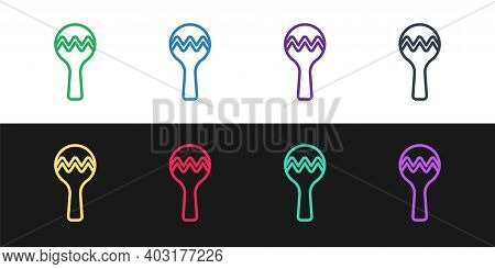 Set Line Maracas Icon Isolated On Black And White Background. Music Maracas Instrument Mexico. Vecto