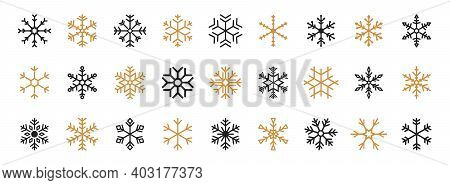 Set Of Black And Gold Snowflakes. Black Snowflake Vector Icon. Snowflakes Vector Template. Winter Sn