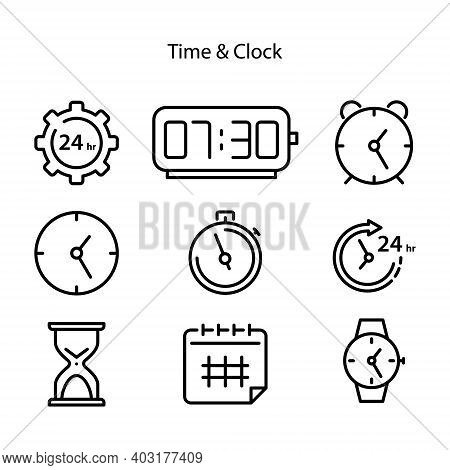Set Of Clock Time Icon Isolated On White Background From Miscellaneous Collection. Clock Time Icon T