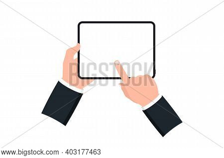 Hands Holding Black Tablet With Blank Screen On White Background. Human Hand Using Digital Tablet An