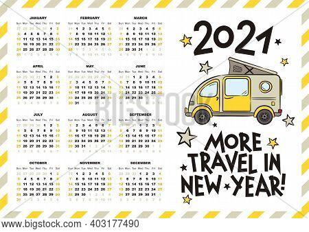 Airmail Calendar Template. 2021 Yearly Calendar. 12 Months Yearly Calendar Set In 2021. Cute Minivan
