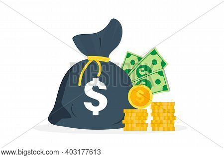 Money Bag On Which Dollar Sign. Dollars Banknotes. Cash Money, A Bunch Of Coins.money Bag, A Pile Of