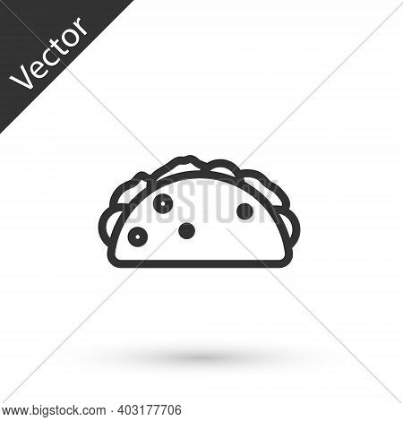 Grey Line Taco With Tortilla Icon Isolated On White Background. Traditional Mexican Fast Food Menu.