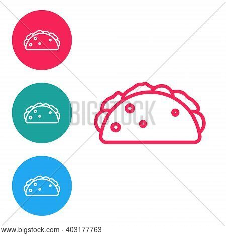 Red Line Taco With Tortilla Icon Isolated On White Background. Traditional Mexican Fast Food Menu. S