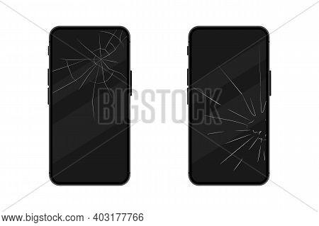 Black Smartphones With A Broken Display. Broken Mobile Phone Screen. Touch Smartphone With Broken Sc