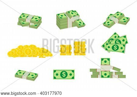 Set A Various Money Bills Dollar Cash Paper Bank Notes And Gold Coins. Big Pile Of Cash Money And So