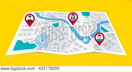 Gps Navigator. The Concept Shares Its Geolocation With Others. Search By Geolocation. Tracking The L