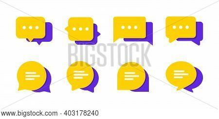 Set Of Chat Message Bubbles Vector Icon. Communication Icons. Talk Bubble, Dialog. Web Icon Set. Onl