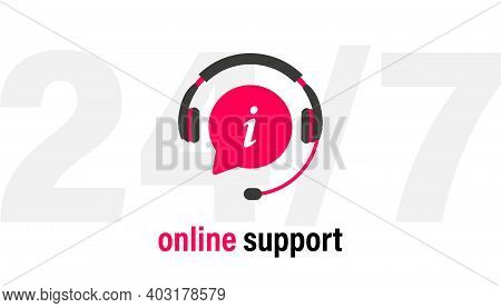Tech Support Headphones With Microphone And Chat Speech Bubble. Support Service For User Consultatio