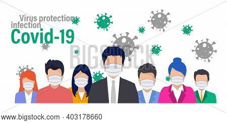 Group Of People In Protective Medical Face Mask. Wearing Face Mask For Virus Protection. Coronavirus