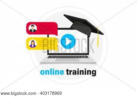 Online Webinar Concept, Distance Education. Live Streaming. Online Webinar. Video Conference. Online