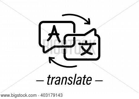 Chat Bubbles With Language Translation Outline Vector Sign. Online Multi Language Translator. Transl