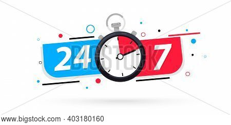 Stopwatch Icon, 24 7 Service. 24-7 Open Concept Vector Illustration. 24 7 Hours A Day Service Icon.