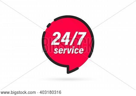 Red Banner 24 7 Service. 24-7 Open Concept Vector Illustration. 24 Hours A Day Service Icon. 24 Hour