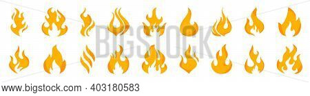 Collection Flames Of Different Shapes. Set Of Burning Fire, Flames Vector Icons. Red And Orange Fire