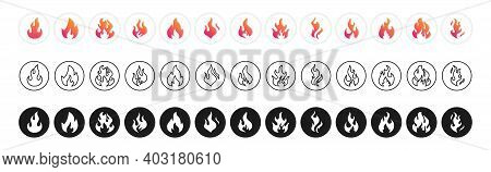 Collection Flames Of Different Shapes. Set Of Burning Fire, Flames Vector Icons. Flame, Fire Vector