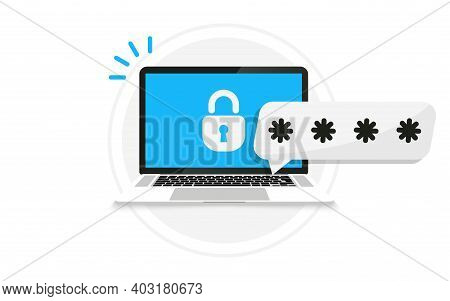 Laptop With Password Notification And Lock Icon. Password Secure Access On Laptop For Landing Page,