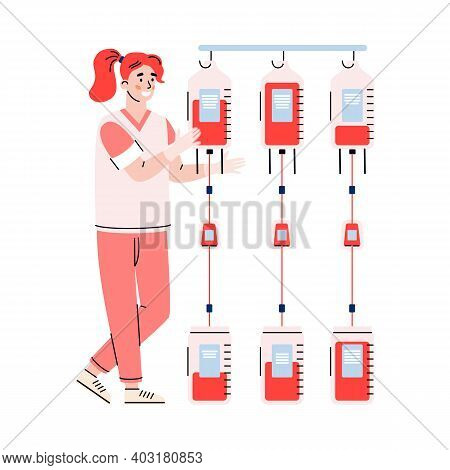 Nurse Of Blood Bank Cartoon Character, Flat Vector Illustration Isolated On White Background. Blood
