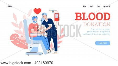 Blood Donation Clinic Web Page Interface With Characters Of Volunteer And Nurse, Flat Cartoon Vector