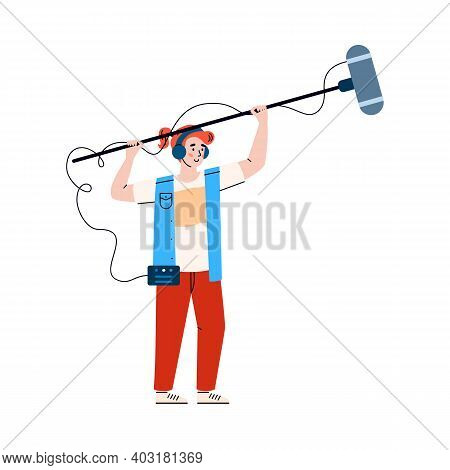Sound Movie Technician Records Sound With Microphone, Flat Cartoon Vector Illustration Isolated On W