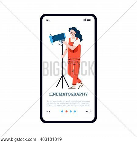 Onboarding Screen With Professional Filmmaker Flat Cartoon Vector Illustration Isolated On White Bac