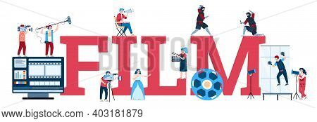 Film Industry Banner Design With Word Film Written In Big Letters And Cartoon Characters Of Actors A
