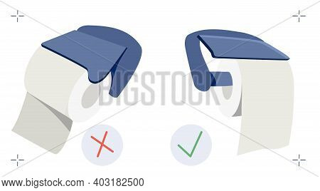 Toilet Paper Position Handle Meme. How To Use Roll In Right Way. Vector Illustration In Flat Style.