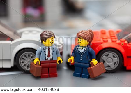 Tambov, Russian Federation - January 08, 2021 Lego Businessman And Businesswoman Minifigures Standin