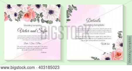 Floral Template For Wedding Invitation. Watercolor Background, White Anemones, Roses, Eucalyptus.