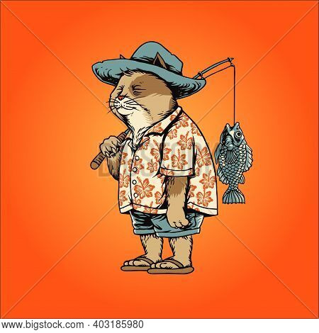 Fisher Cat Fishing Holiday Vector Illustrations For Your Work Logo Merchandise Clothing Line, Sticke